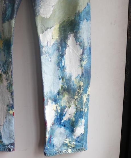 """""""贈花"""" Gifted Flowers paint, Based on Levis 505 denim"""