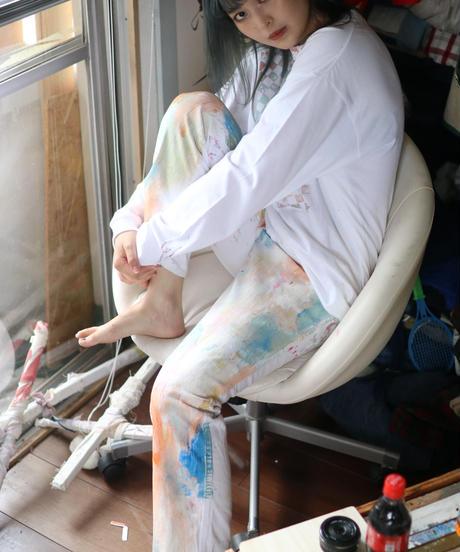 """""""ベイビー・ドライバー"""" Painted denim dedicated to baby driver, Based on Armani denim"""