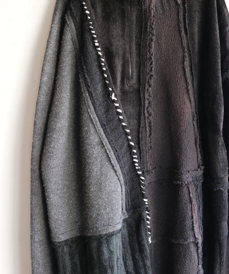"""""""夜間飛行"""" night flight knit one-piece, reconstructed from black knit vintages"""