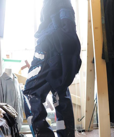 """""""青の修復"""" Blue repair painted denim,  Based on vintage denim"""