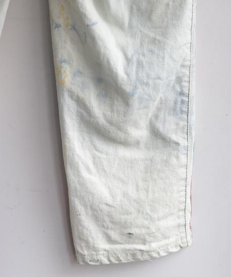 """""""偽装する虹"""" Fake stitch painted pants, Based on Bleach vintage denim"""