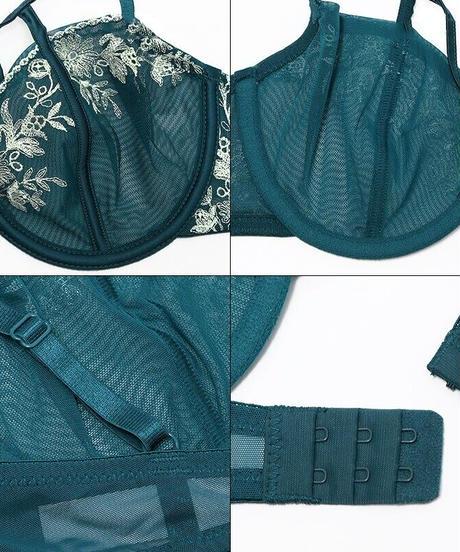 刺繍レースブラジャー パンティ セット