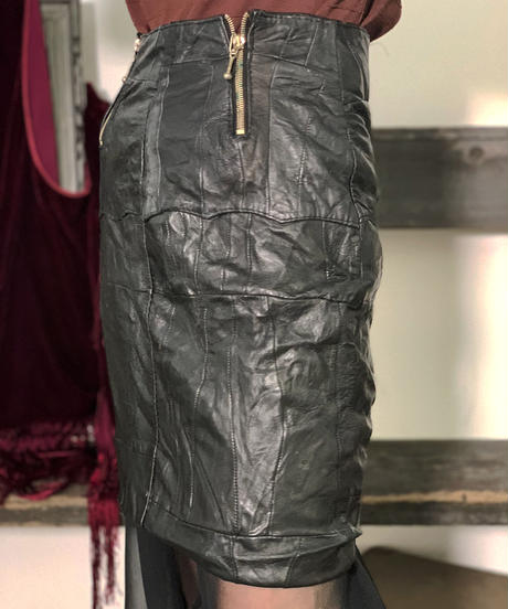【Used】Leather Mini skirt/ 201006-005