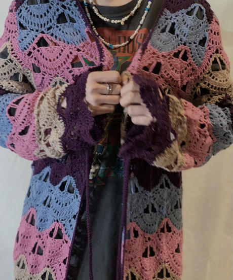 【USED】Crochet Knit Cardigan④/210217-066