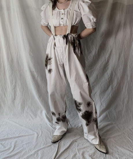 【USED】 White Cotton Tyrol Blouse①/210421-026