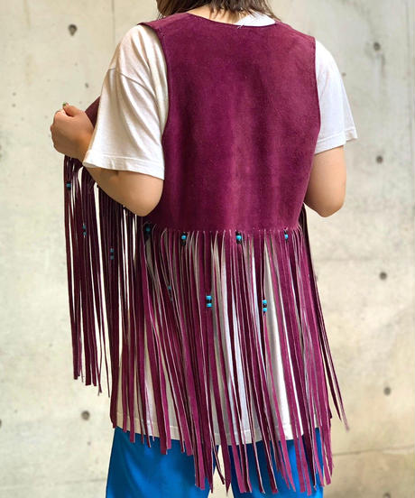 【Used】 Leather Fringe Vest  /200728-034