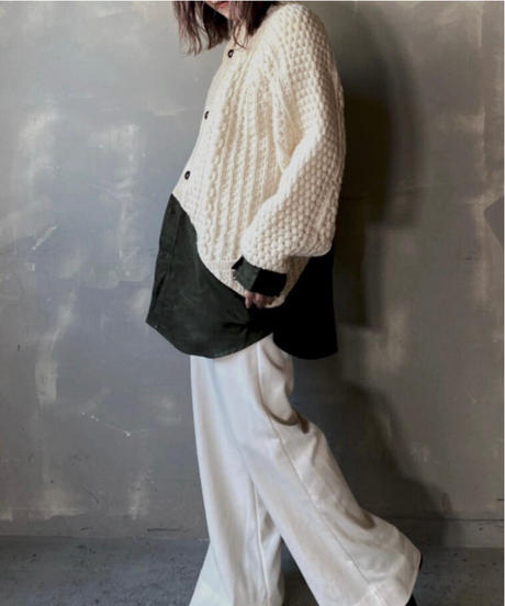 【RE;CIRCLE】 Switching Cable Knit Cardigan / 201112-020