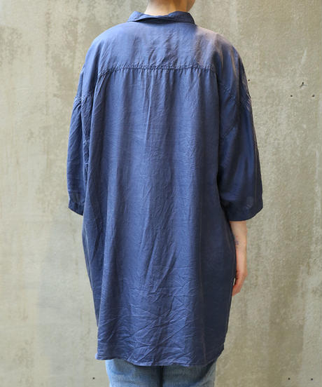 [USED] SILK SHIRT (NAVY1)