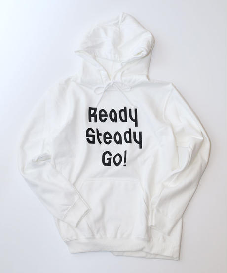 [READY STEADY GO]  Logo Hoody (White/Black)