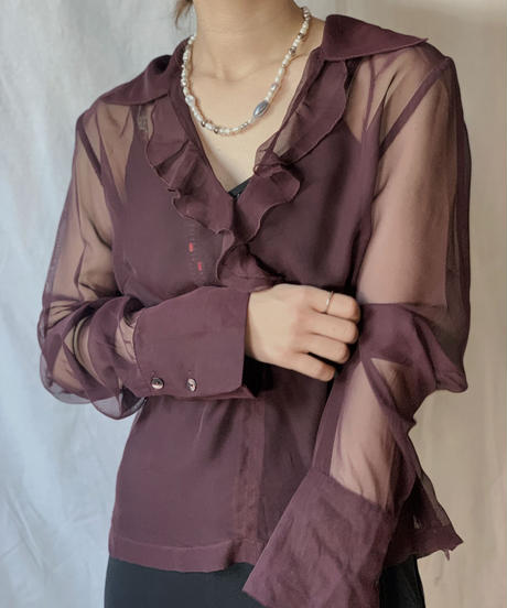 【USED】L/S See-through  Blouse  /210318-007