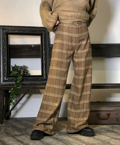 【Used】Wool Check Flare Pants / 201011-021