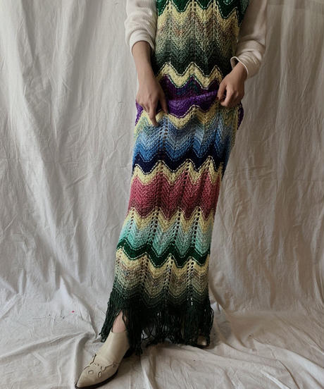 【RE;CIRCLE】 Remake Granny Knit N/S One-piece③/210331-013