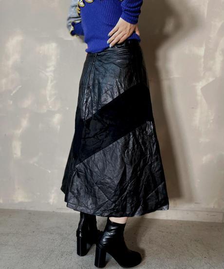 【USED】 Leather Medium Skirt / 201125-001