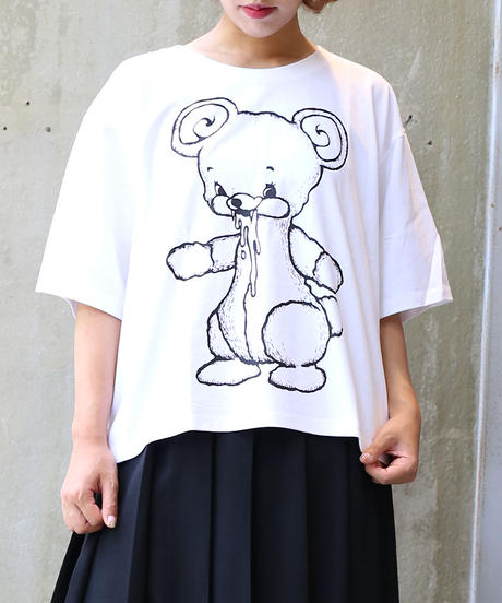 [yodare bear(ヨダレベア)] 全身 Wide T-shirt (White)