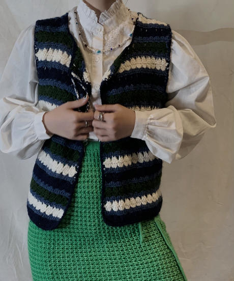 【USED】Crochet Knit Vest/210217-061