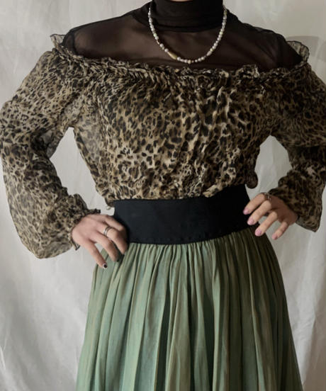 【USED】Leopard Patterned See-through Top/210217-048