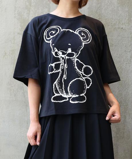 [yodare bear(ヨダレベア)] 全身 Wide T-shirt (Black)