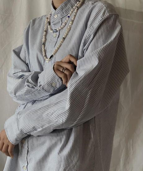 【RE;CIRCLE】 RE Stripe Band Collar Shirt②/210414-028