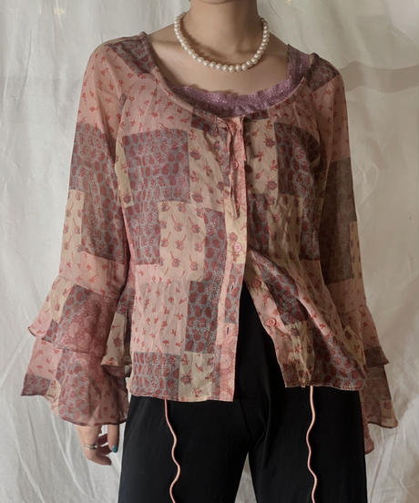 【USDE】 Paisley Patterned See-through Top/210324-40