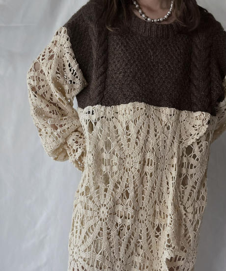 【RE;CIRCLE】 RE Alan Knit ×Crochet One-piece②/211008-005