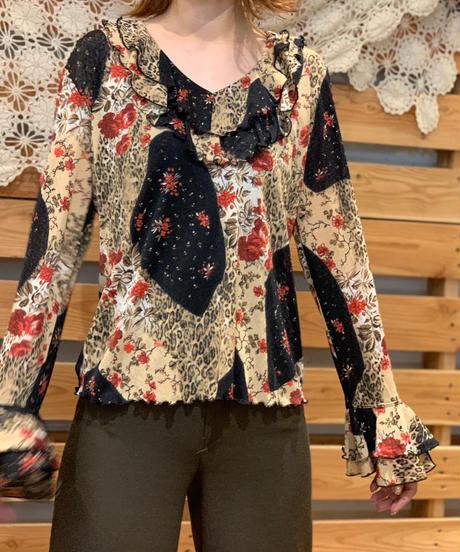 【Used】Flare Sleeve  Flower Tops  / 200901-062