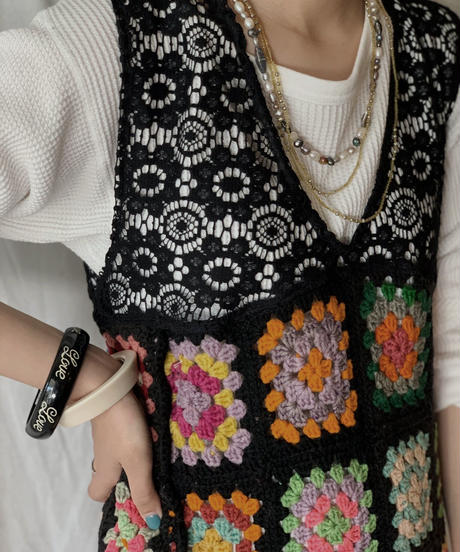 【RE;CIRCLE】 Remake Granny Knit N/S One-piece①/210331-011