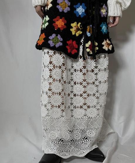 【RE;CIRCLE】 RE Granny Knit×Lace Long Skirt①/210917-005