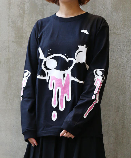 [yodare bear(ヨダレベア)] L/S Face bear T-shirt (Black)