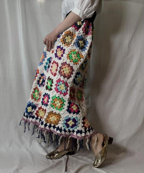 【USED】 Granny Knit Long Skirt③/210404-011