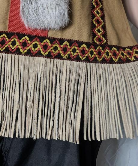 【USED】 Ethnic Fringe Poncho /210708-008