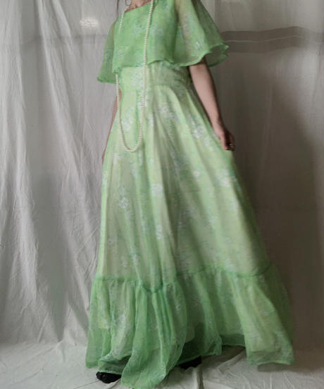 【USED】 Flower Patterned See-through N/S Dress/210714-033