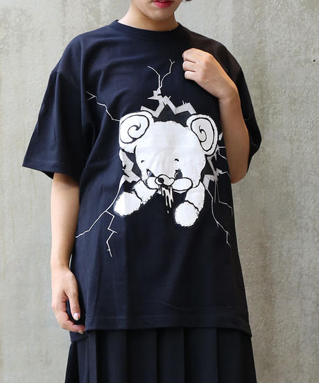 [yodare bear(ヨダレベア)] クラッシュ Big T-shirt (Black)