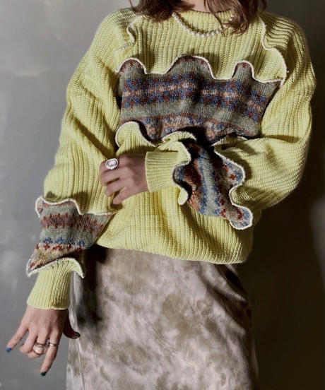 【RE;CIRCLE】 Mellow Nordic Switching Knit /201202-009