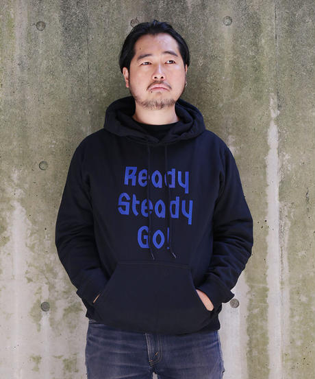 [READY STEADY GO]  Logo Hoody (Black/Blue)