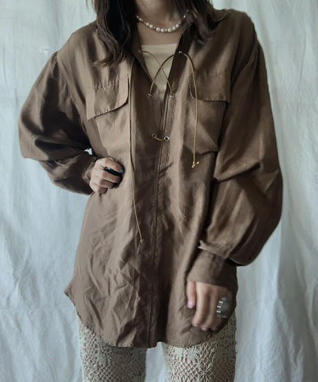 【RE;CIRCLE】 RE Lace Up Silk Pullover Shirt②/210611-014