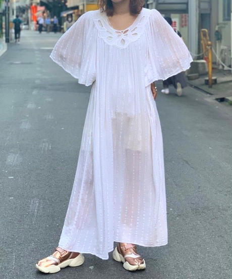 【Used】Line Flare Long One-Piece  WHT