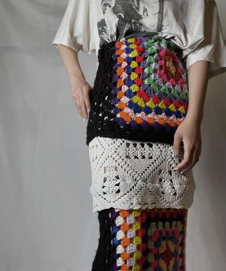 【RE;CIRCLE】 RE Granny Knit×Lace Long Skirt②/210917-007