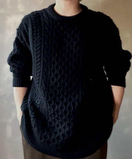 【MEND】 Dyed black Aran Knit / 201125-028