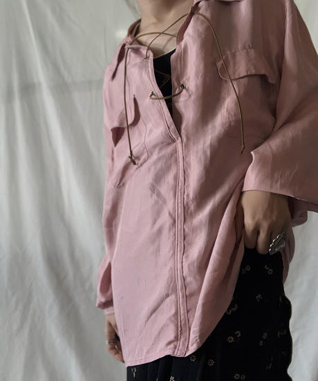 【RE;CIRCLE】 RE Lace Up Silk Pullover Shirt③/210611-041
