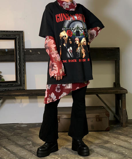 【Used】L/S See-Though Flower Tops  /201011-051