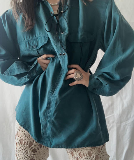 【RE;CIRCLE】 RE Lace Up Silk Pullover Shirt①/210611-011