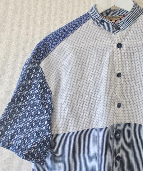 White x blue Yukata Summer shirt (no.194)