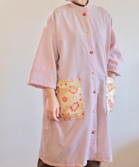 Retro Red Kimono & gorgeous Obi pocket Jacket dress (no.274)