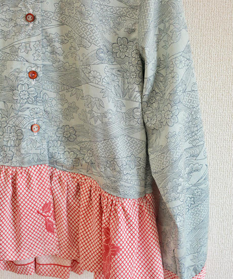 Light blue x Red Kimono frilled shirt (no.251)