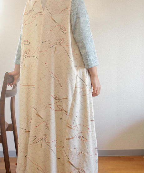 Light blue x Japanese fan pattern Kimono Long Dress (no.252)