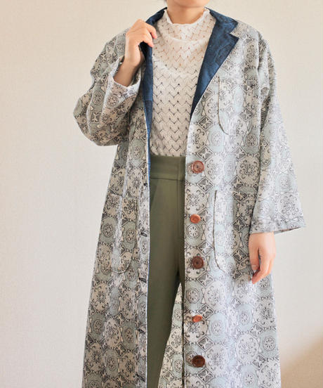 4pockets Light blue abstarct pattern Oversized Kimono Coat (no.234)
