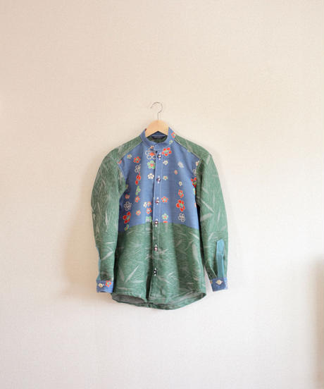 Men's green & retro Kimono casual shirt (no.289)