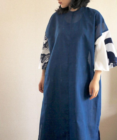Flare sleeves Japanese Blue summer Long Dress (no.318)