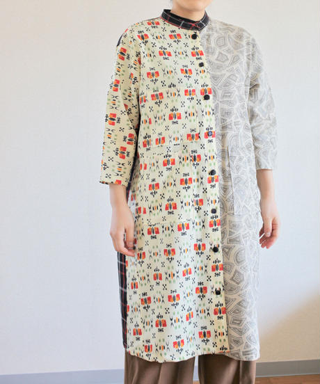 Check & Abstract pattern Kimono Long Jacket dress (no.277)