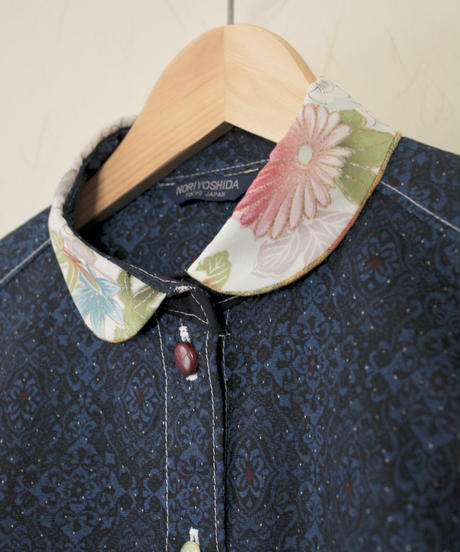 Dark blue & flower pattern & Kasuri Kimono Shirt (no.256)